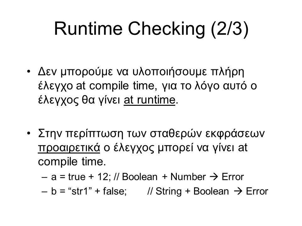 Runtime Checking (2/3) Δεν μπορούμε να υλοποιήσουμε πλήρη έλεγχο at compile time, για το λόγο αυτό ο έλεγχος θα γίνει at runtime.