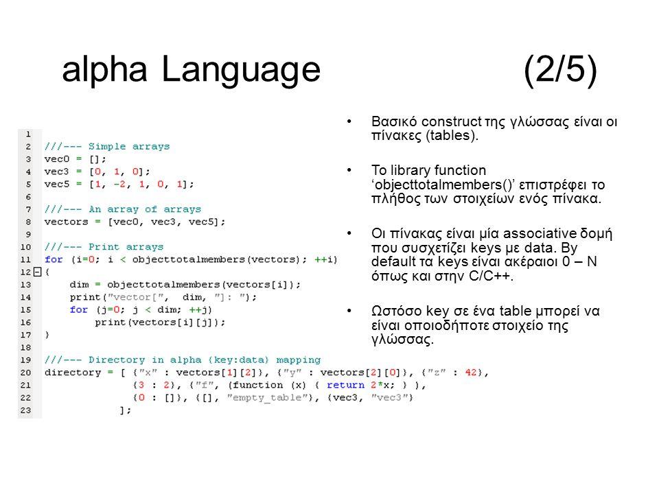 Βασικό construct της γλώσσας είναι οι πίνακες (tables). Το library function 'objecttotalmembers()' επιστρέφει το πλήθος των στοιχείων ενός πίνακα. Οι