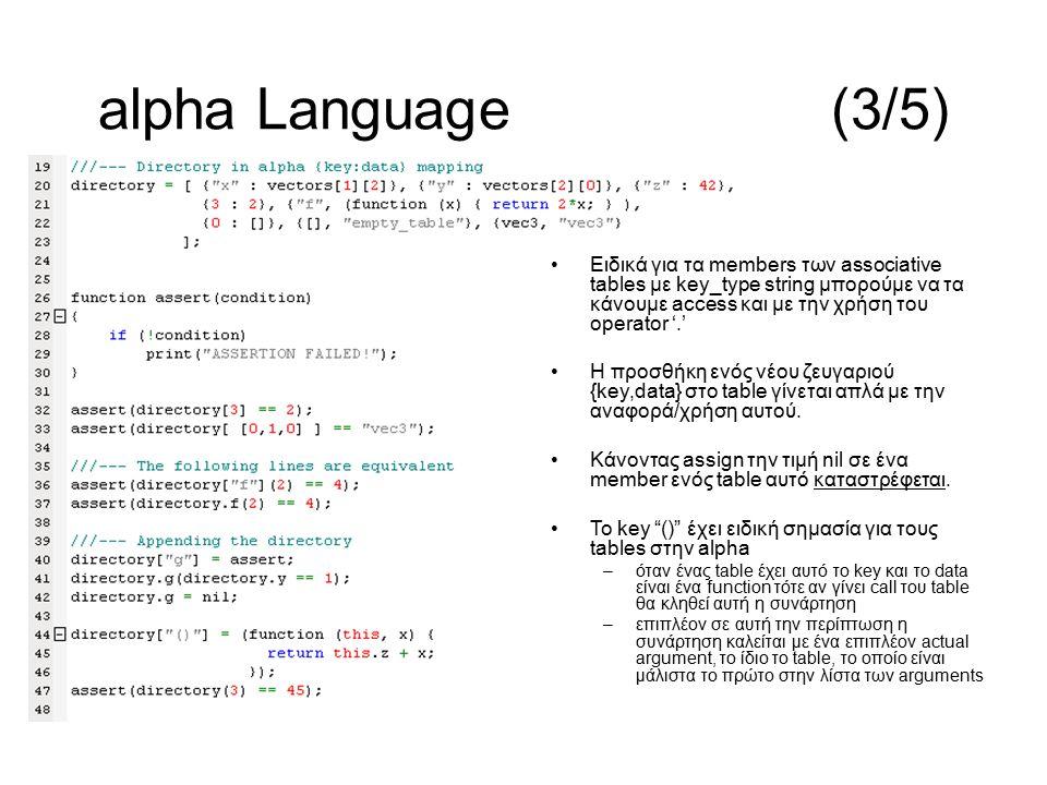 Ειδικά για τα members των associative tables με key_type string μπορούμε να τα κάνουμε access και με την χρήση του operator '.' Η προσθήκη ενός νέου ζευγαριού {key,data} στο table γίνεται απλά με την αναφορά/χρήση αυτού.