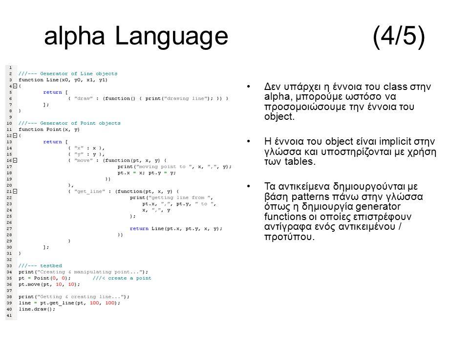 Δεν υπάρχει η έννοια του class στην alpha, μπορούμε ωστόσο να προσομοιώσουμε την έννοια του object. Η έννοια του object είναι implicit στην γλώσσα και