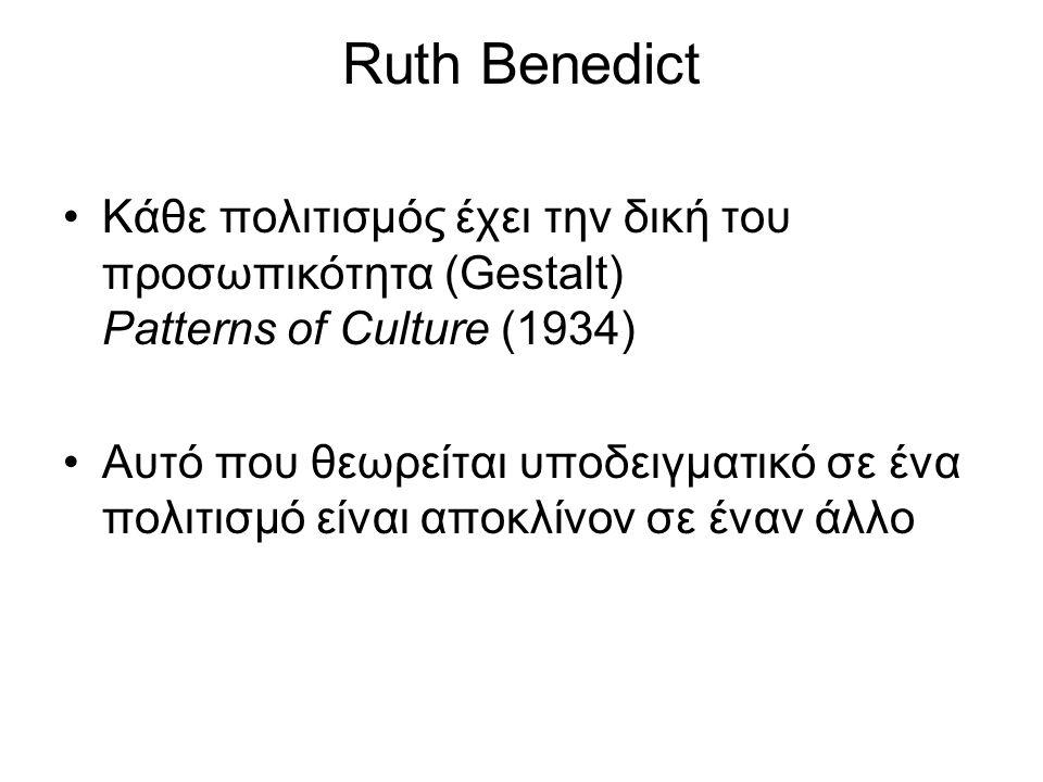 Ruth Benedict Κάθε πολιτισμός έχει την δική του προσωπικότητα (Gestalt) Patterns of Culture (1934) Αυτό που θεωρείται υποδειγματικό σε ένα πολιτισμό ε