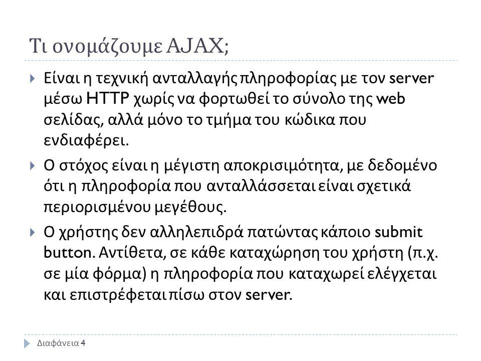 Τι ονομάζουμε AJAX;  Είναι η τεχνική ανταλλαγής πληροφορίας με τον server μέσω HTTP χωρίς να φορτωθεί το σύνολο της web σελίδας, αλλά μόνο το τμήμα του κώδικα που ενδιαφέρει.