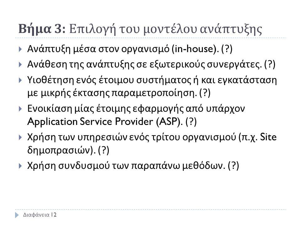 Βήμα 3: Επιλογή του μοντέλου ανάπτυξης  Ανάπτυξη μέσα στον οργανισμό (in-house). (?)  Ανάθεση της ανάπτυξης σε εξωτερικούς συνεργάτες. (?)  Υιοθέτη