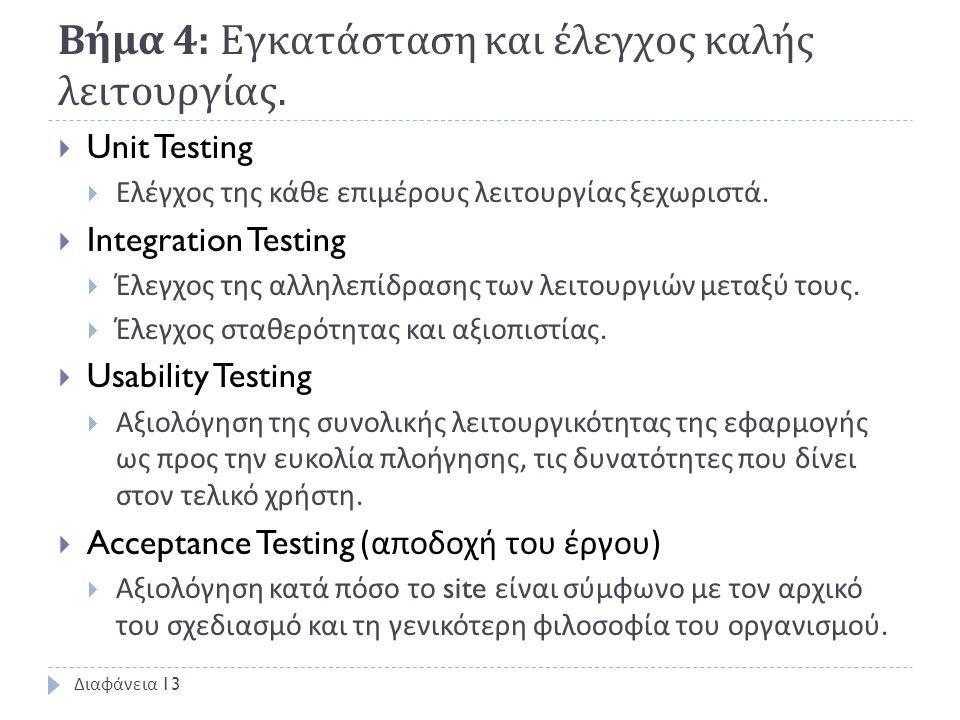 Βήμα 4: Εγκατάσταση και έλεγχος καλής λειτουργίας.  Unit Testing  Ελέγχος της κάθε επιμέρους λειτουργίας ξεχωριστά.  Integration Testing  Έλεγχος
