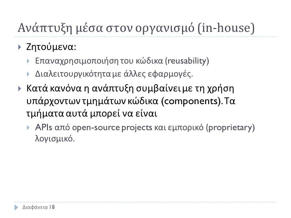 Ανάπτυξη μέσα στον οργανισμό (in-house)  Ζητούμενα :  Επαναχρησιμοποιήση του κώδικα (reusability)  Διαλειτουργικότητα με άλλες εφαρμογές.  Κατά κα