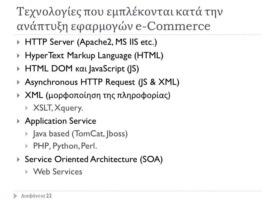 T εχνολογίες που εμπλέκονται κατά την ανάπτυξη εφαρμογών e-Commerce  HTTP Server (Apache2, MS IIS etc.)  HyperText Markup Language (HTML)  HTML DOM