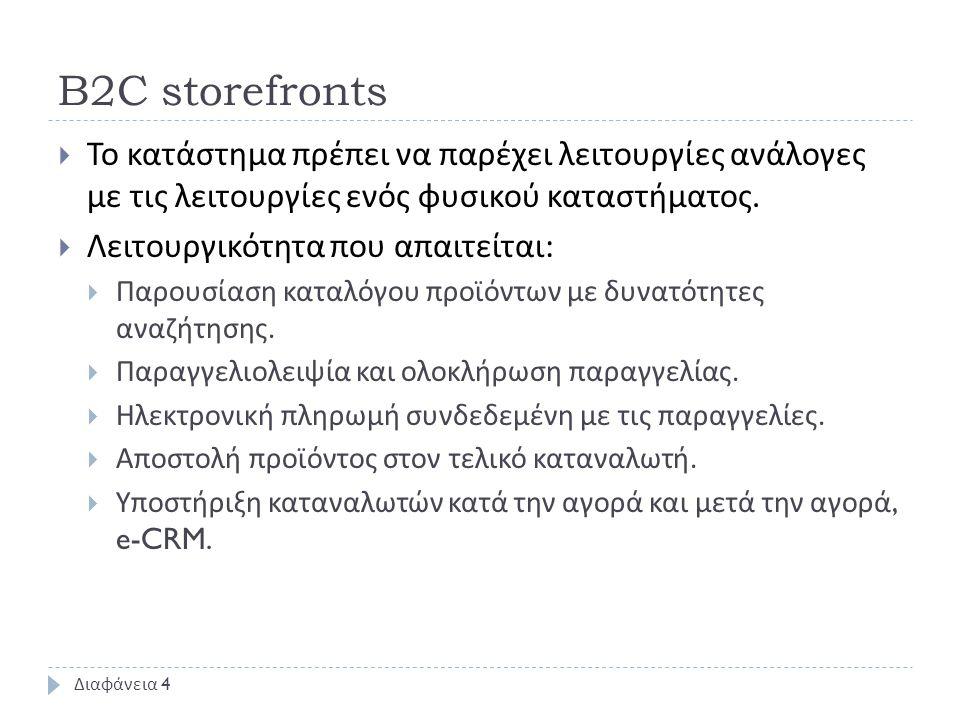 B2C storefronts  Το κατάστημα πρέπει να παρέχει λειτουργίες ανάλογες με τις λειτουργίες ενός φυσικού καταστήματος.  Λειτουργικότητα που απαιτείται :