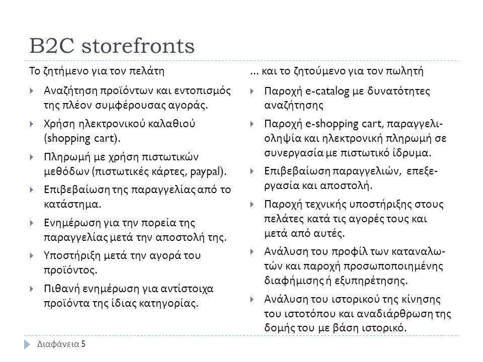 B2C storefronts  Αναζήτηση προϊόντων και εντοπισμός της πλέον συμφέρουσας αγοράς.  Χρήση ηλεκτρονικού καλαθιού (shopping cart).  Πληρωμή με χρήση π