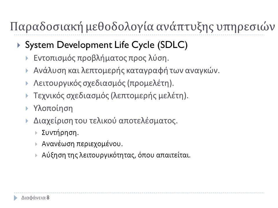 Παραδοσιακή μεθοδολογία ανάπτυξης υπηρεσιών  System Development Life Cycle (SDLC)  Εντοπισμός προβλήματος προς λύση.  Ανάλυση και λεπτομερής καταγρ