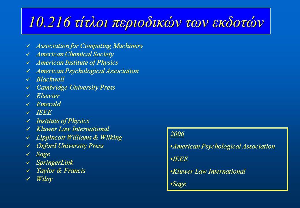 Cell Press Directory of Open Access Journals (DOAJ) HighWire Press NUMDAM Project Euclid 2.500 τίτλοι περιοδικών ελεύθερης πρόσβασης