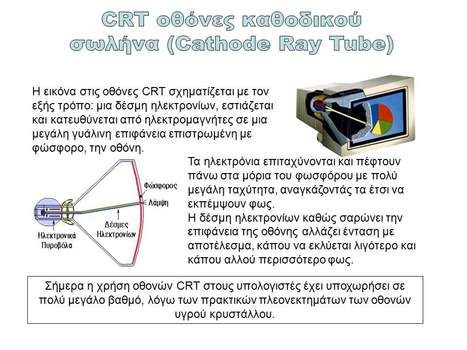 Η εικόνα στις οθόνες CRT σχηματίζεται με τον εξής τρόπο: μια δέσμη ηλεκτρονίων, εστιάζεται και κατευθύνεται από ηλεκτρομαγνήτες σε μια μεγάλη γυάλινη