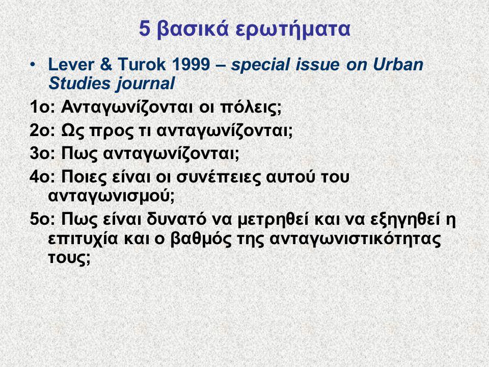 5 βασικά ερωτήματα Lever & Turok 1999 – special issue on Urban Studies journal 1ο: Ανταγωνίζονται οι πόλεις; 2ο: Ως προς τι ανταγωνίζονται; 3ο: Πως ανταγωνίζονται; 4ο: Ποιες είναι οι συνέπειες αυτού του ανταγωνισμού; 5ο: Πως είναι δυνατό να μετρηθεί και να εξηγηθεί η επιτυχία και ο βαθμός της ανταγωνιστικότητας τους;