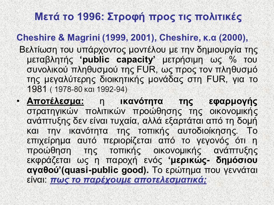 Μετά το 1996: Στροφή προς τις πολιτικές Cheshire & Magrini (1999, 2001), Cheshire, κ.α (2000), Βελτίωση του υπάρχοντος μοντέλου με την δημιουργία της