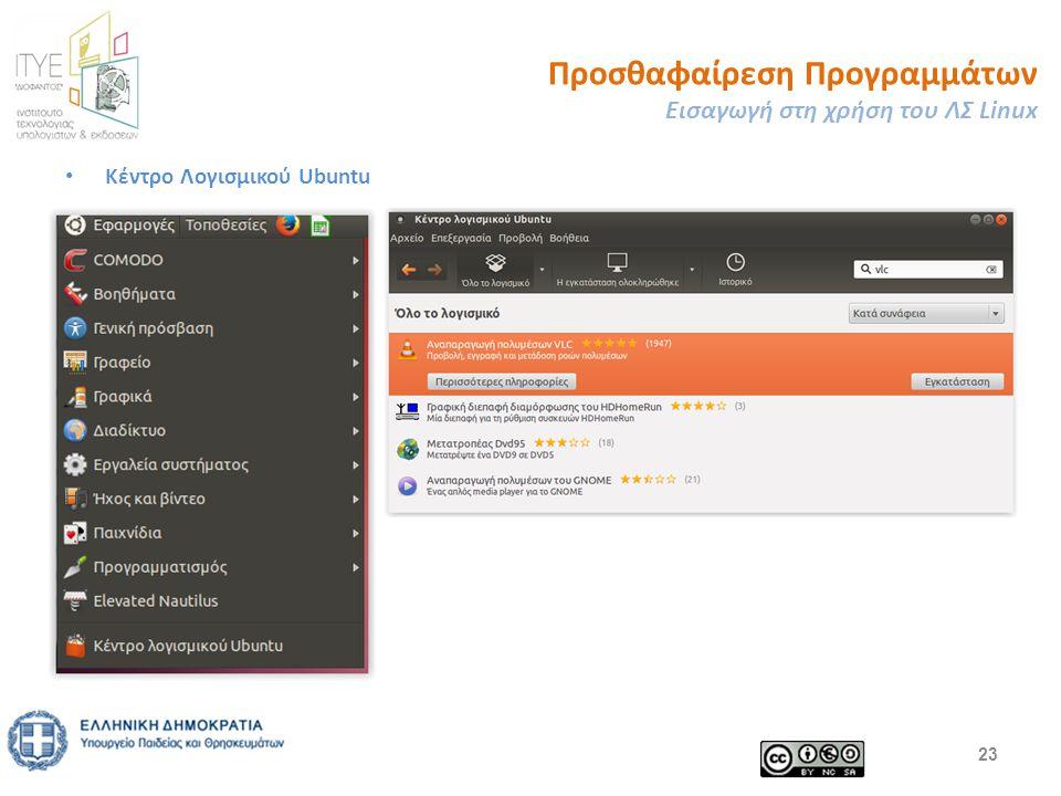 Προσθαφαίρεση Προγραμμάτων Εισαγωγή στη χρήση του ΛΣ Linux Κέντρο Λογισμικού Ubuntu 23