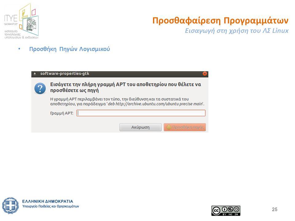 Προσθαφαίρεση Προγραμμάτων Εισαγωγή στη χρήση του ΛΣ Linux Προσθήκη Πηγών Λογισμικού 25