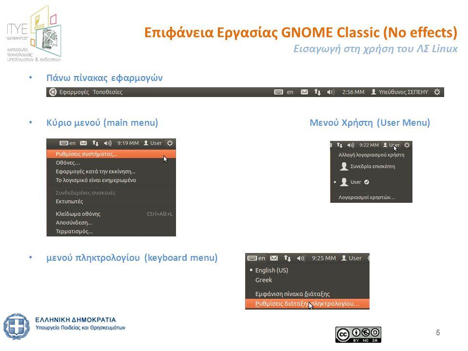 Επιφάνεια Εργασίας GNOME Classic (No effects) Εισαγωγή στη χρήση του ΛΣ Linux Πάνω πίνακας εφαρμογών Κύριο μενού (main menu) Μενού Χρήστη (User Menu) μενού πληκτρολογίου (keyboard menu) 5