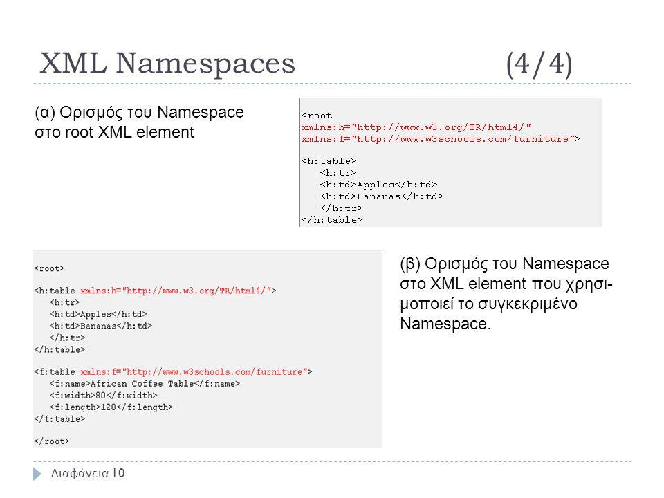 XML Namespaces(4/4) Διαφάνεια 10 (α) Ορισμός του Namespace στο root XML element (β) Ορισμός του Namespace στο XML element που χρησι- μοποιεί το συγκεκριμένο Namespace.