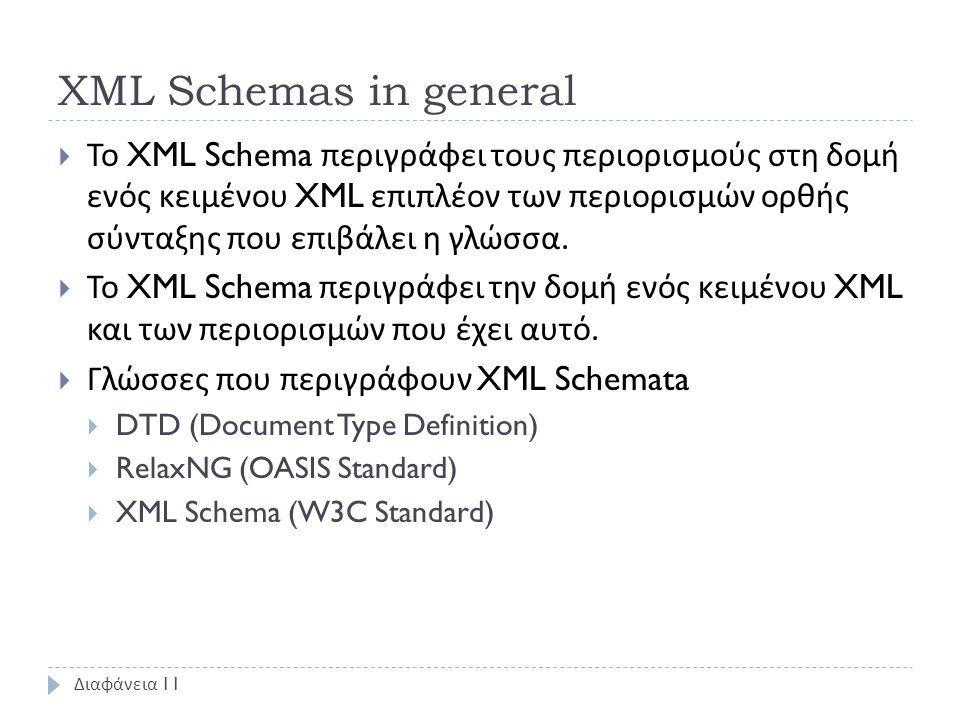 XML Schemas in general  Το XML Schema περιγράφει τους περιορισμούς στη δομή ενός κειμένου XML επιπλέον των περιορισμών ορθής σύνταξης που επιβάλει η γλώσσα.