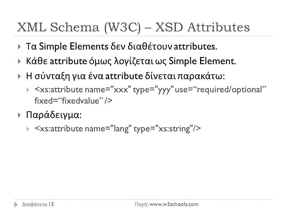 XML Schema (W3C) – XSD Attributes  Τα Simple Elements δεν διαθέτουν attributes.