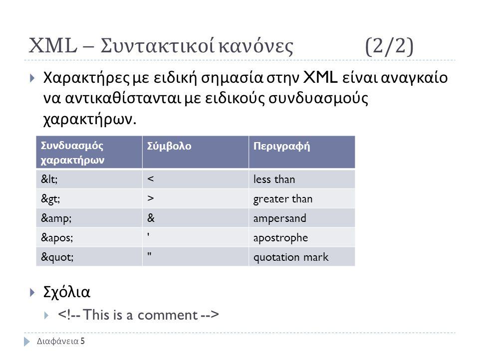 XML – Συντακτικοί κανόνες (2/2)  Χαρακτήρες με ειδική σημασία στην XML είναι αναγκαίο να αντικαθίστανται με ειδικούς συνδυασμούς χαρακτήρων.