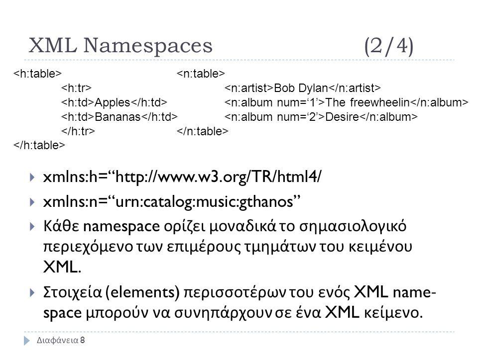 XML Namespaces(2/4)  xmlns:h= http://www.w3.org/TR/html4/  xmlns:n= urn:catalog:music:gthanos  Κάθε namespace ορίζει μοναδικά το σημασιολογικό περιεχόμενο των επιμέρους τμημάτων του κειμένου XML.