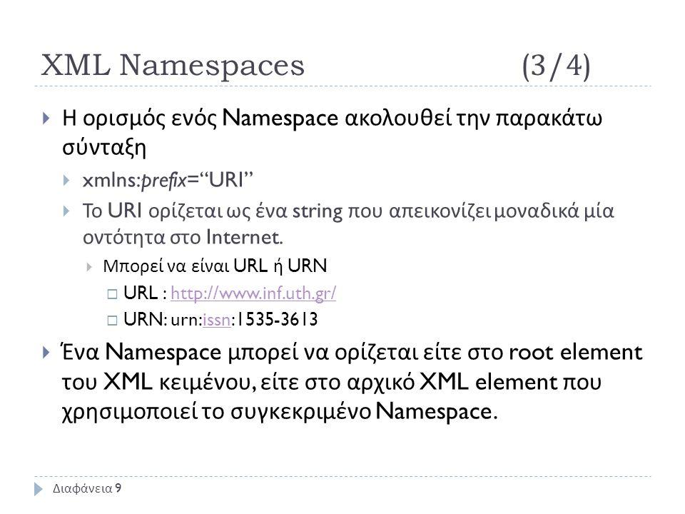XML Namespaces(3/4)  Η ορισμός ενός Namespace ακολουθεί την παρακάτω σύνταξη  xmlns:prefix= URI  Το URI ορίζεται ως ένα string που απεικονίζει μοναδικά μία οντότητα στο Internet.