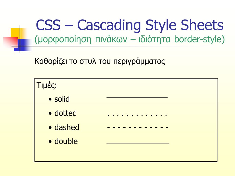 CSS – Cascading Style Sheets (μορφοποίηση πινάκων – ιδιότητα border-style) Καθορίζει το στυλ του περιγράμματος Τιμές: solid dotted.............
