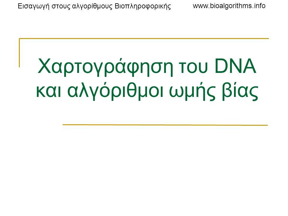 Εισαγωγή στους αλγορίθμους Βιοπληροφορικής www.bioalgorithms.info Ηλεκτροφόρηση πηκτώματος Τα τμήματα του DNA εγχέονται σε ένα πήκτωμα τοποθετημένο σε ηλεκτρικό πεδίο Τα μόρια του DNA είναι αρνητικά φορτισμένα κοντά στο ουδέτερο pH Ο «κορμός» φωσφορικής ριβόζης κάθε νουκλεοτιδίου είναι όξινος.
