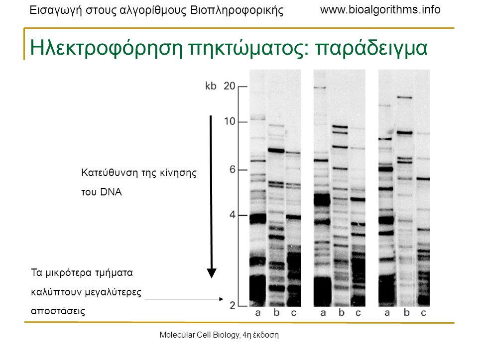 Εισαγωγή στους αλγορίθμους Βιοπληροφορικής www.bioalgorithms.info Ηλεκτροφόρηση πηκτώματος: παράδειγμα Κατεύθυνση της κίνησης του DNA Τα μικρότερα τμήματα καλύπτουν μεγαλύτερες αποστάσεις Molecular Cell Biology, 4η έκδοση