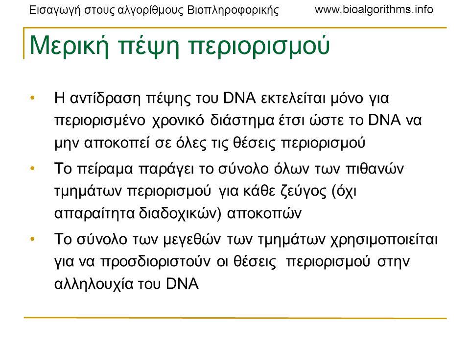 Εισαγωγή στους αλγορίθμους Βιοπληροφορικής www.bioalgorithms.info Μερική πέψη περιορισμού Η αντίδραση πέψης του DNA εκτελείται μόνο για περιορισμένο χρονικό διάστημα έτσι ώστε το DNA να μην αποκοπεί σε όλες τις θέσεις περιορισμού Το πείραμα παράγει το σύνολο όλων των πιθανών τμημάτων περιορισμού για κάθε ζεύγος (όχι απαραίτητα διαδοχικών) αποκοπών Το σύνολο των μεγεθών των τμημάτων χρησιμοποιείται για να προσδιοριστούν οι θέσεις περιορισμού στην αλληλουχία του DNA