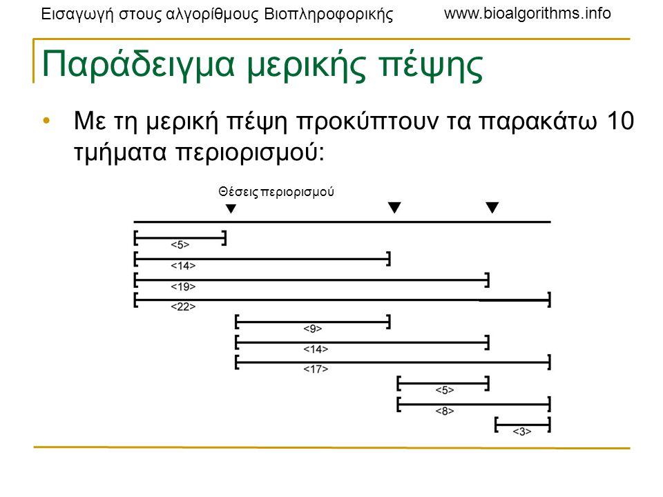 Εισαγωγή στους αλγορίθμους Βιοπληροφορικής www.bioalgorithms.info Παράδειγμα μερικής πέψης Με τη μερική πέψη προκύπτουν τα παρακάτω 10 τμήματα περιορισμού: Θέσεις περιορισμού