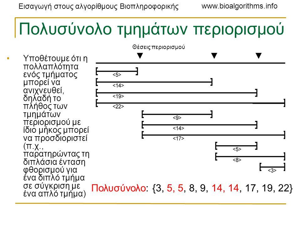 Εισαγωγή στους αλγορίθμους Βιοπληροφορικής www.bioalgorithms.info Πολυσύνολο τμημάτων περιορισμού Υποθέτουμε ότι η πολλαπλότητα ενός τμήματος μπορεί να ανιχνευθεί, δηλαδή το πλήθος των τμημάτων περιορισμού με ίδιο μήκος μπορεί να προσδιοριστεί (π.χ., παρατηρώντας τη διπλάσια ένταση φθορισμού για ένα διπλό τμήμα σε σύγκριση με ένα απλό τμήμα) Πολυσύνολο: {3, 5, 5, 8, 9, 14, 14, 17, 19, 22} Θέσεις περιορισμού