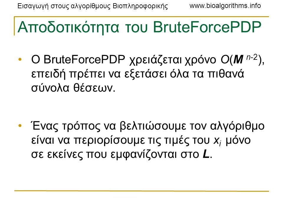 Εισαγωγή στους αλγορίθμους Βιοπληροφορικής www.bioalgorithms.info Αποδοτικότητα του BruteForcePDP Ο BruteForcePDP χρειάζεται χρόνο O(M n-2 ), επειδή πρέπει να εξετάσει όλα τα πιθανά σύνολα θέσεων.