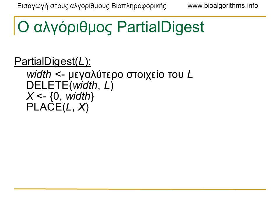 Εισαγωγή στους αλγορίθμους Βιοπληροφορικής www.bioalgorithms.info Ο αλγόριθμος PartialDigest PartialDigest(L): width <- μεγαλύτερο στοιχείο του L DELETE(width, L) X <- {0, width} PLACE(L, X)