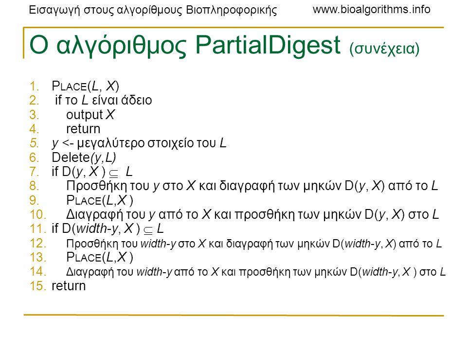 Εισαγωγή στους αλγορίθμους Βιοπληροφορικής www.bioalgorithms.info Ο αλγόριθμος PartialDigest (συνέχεια) 1.