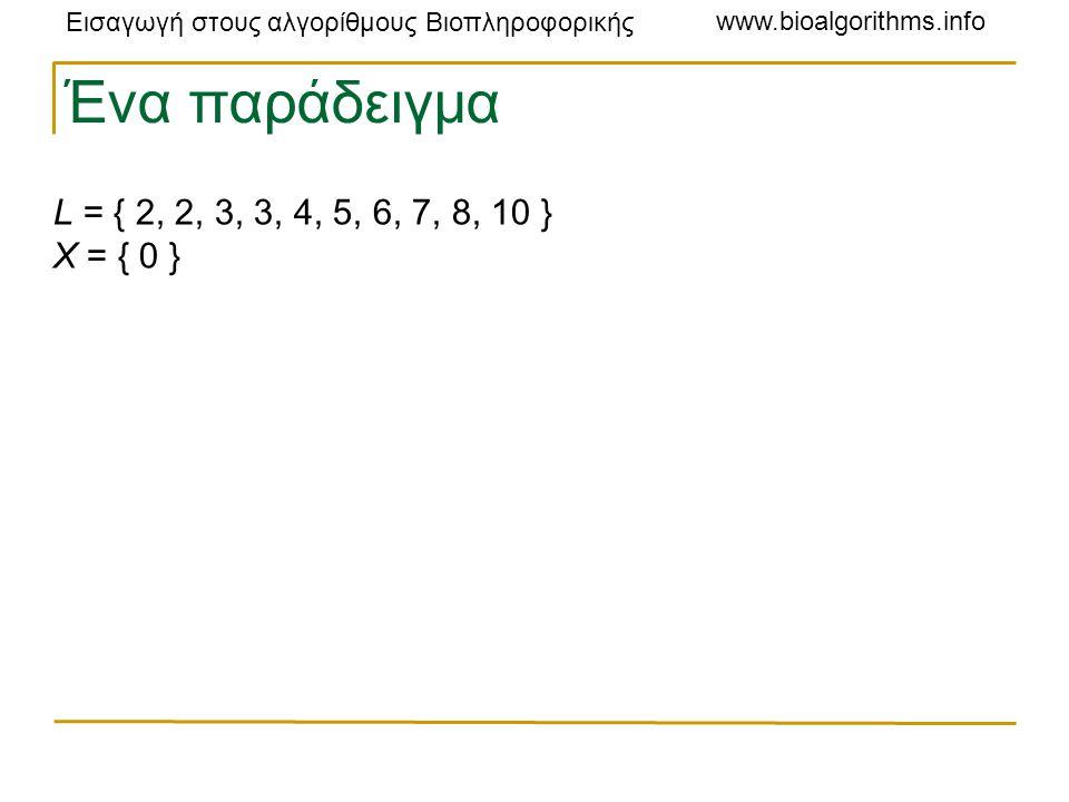 Εισαγωγή στους αλγορίθμους Βιοπληροφορικής www.bioalgorithms.info Ένα παράδειγμα L = { 2, 2, 3, 3, 4, 5, 6, 7, 8, 10 } X = { 0 }