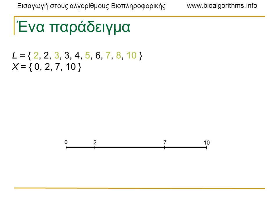 Εισαγωγή στους αλγορίθμους Βιοπληροφορικής www.bioalgorithms.info L = { 2, 2, 3, 3, 4, 5, 6, 7, 8, 10 } X = { 0, 2, 7, 10 } Ένα παράδειγμα