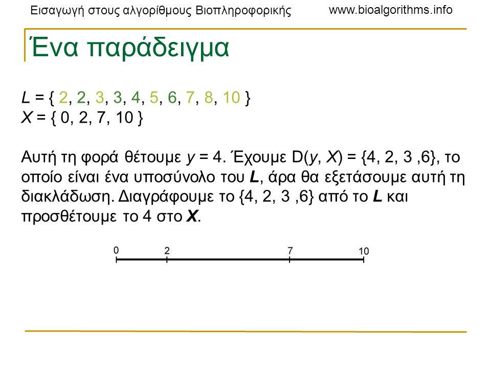 Εισαγωγή στους αλγορίθμους Βιοπληροφορικής www.bioalgorithms.info L = { 2, 2, 3, 3, 4, 5, 6, 7, 8, 10 } X = { 0, 2, 7, 10 } Αυτή τη φορά θέτουμε y = 4.