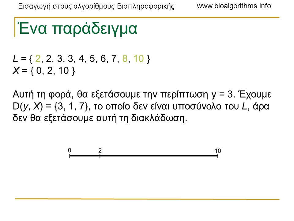 Εισαγωγή στους αλγορίθμους Βιοπληροφορικής www.bioalgorithms.info L = { 2, 2, 3, 3, 4, 5, 6, 7, 8, 10 } X = { 0, 2, 10 } Αυτή τη φορά, θα εξετάσουμε την περίπτωση y = 3.