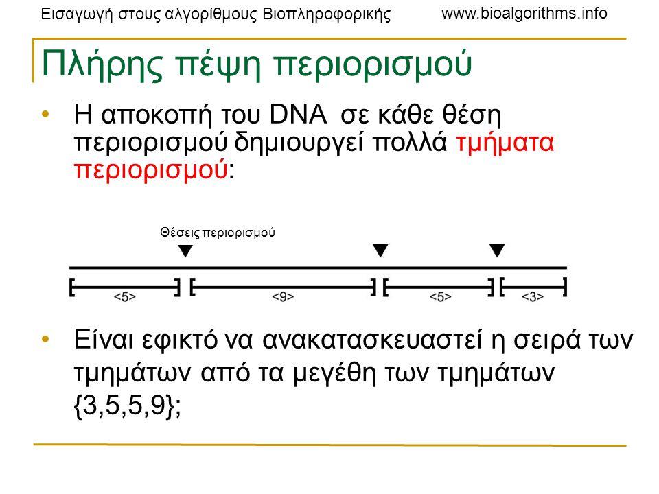 Εισαγωγή στους αλγορίθμους Βιοπληροφορικής www.bioalgorithms.info Πλήρης πέψη περιορισμού Η αποκοπή του DNA σε κάθε θέση περιορισμού δημιουργεί πολλά τμήματα περιορισμού: Είναι εφικτό να ανακατασκευαστεί η σειρά των τμημάτων από τα μεγέθη των τμημάτων {3,5,5,9}; Θέσεις περιορισμού