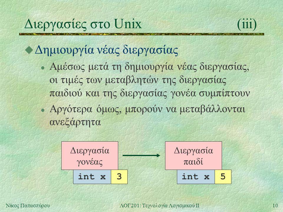 10Νίκος ΠαπασπύρουΛΟΓ201: Τεχνολογία Λογισμικού ΙΙ Διεργασία παιδί int x3 Διεργασίες στο Unix(iii) u Δημιουργία νέας διεργασίας l Αμέσως μετά τη δημιουργία νέας διεργασίας, οι τιμές των μεταβλητών της διεργασίας παιδιού και της διεργασίας γονέα συμπίπτουν l Αργότερα όμως, μπορούν να μεταβάλλονται ανεξάρτητα Διεργασία γονέας int x3 5