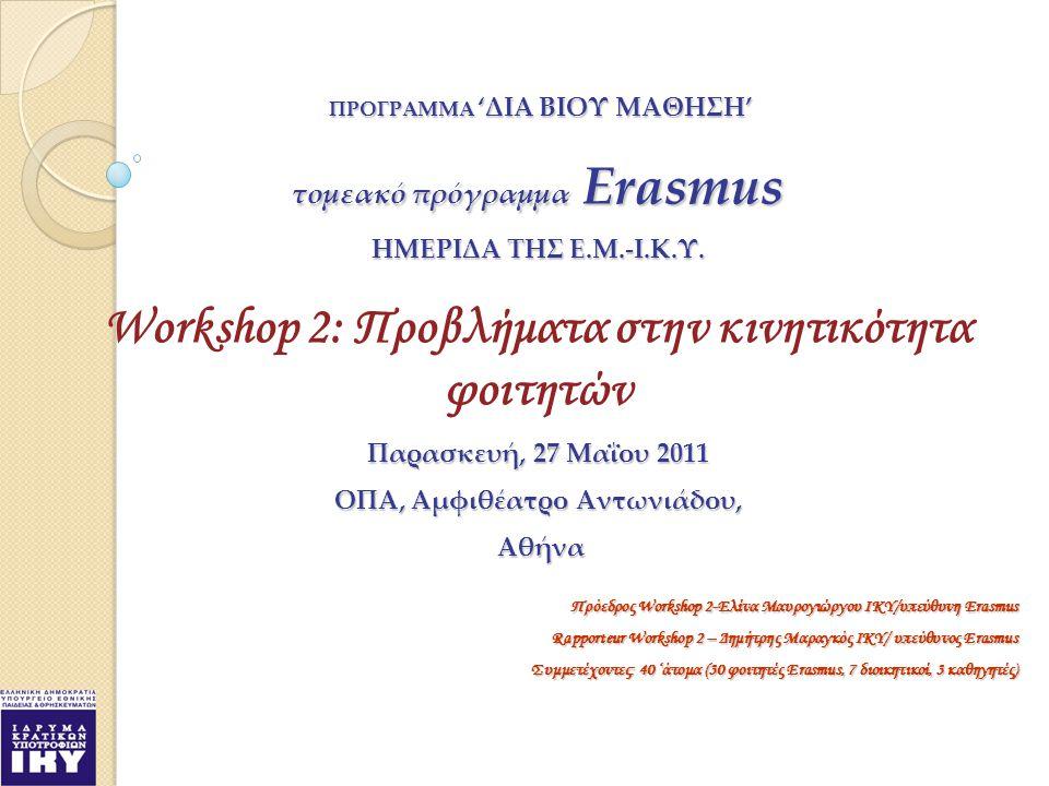 ΠΡΟΓΡΑΜΜΑ 'ΔΙΑ ΒΙΟΥ ΜΑΘΗΣΗ' ΠΡΟΓΡΑΜΜΑ 'ΔΙΑ ΒΙΟΥ ΜΑΘΗΣΗ' τομεακό πρόγραμμα Erasmus HMΕΡΙΔΑ ΤΗΣ Ε.Μ.-Ι.Κ.Υ.