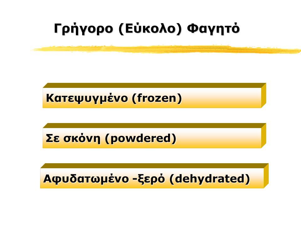 Γρήγορο (Εύκολο) Φαγητό Κατεψυγμένο (frozen) Σε σκόνη (powdered) Αφυδατωμένο -ξερό (dehydrated)