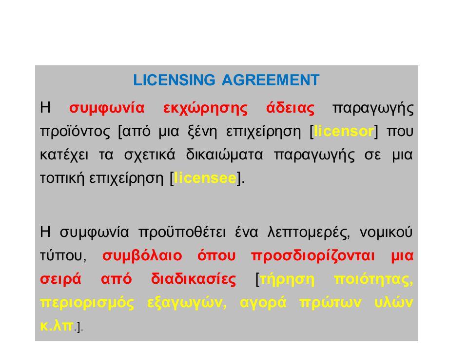 LICENSING AGREEMENT Η συμφωνία εκχώρησης άδειας παραγωγής προϊόντος [από μια ξένη επιχείρηση [licensor] που κατέχει τα σχετικά δικαιώματα παραγωγής σε