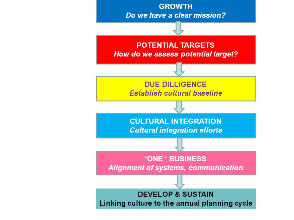 GROWTH Do we have a clear mission.POTENTIAL TARGETS How do we assess potential target.