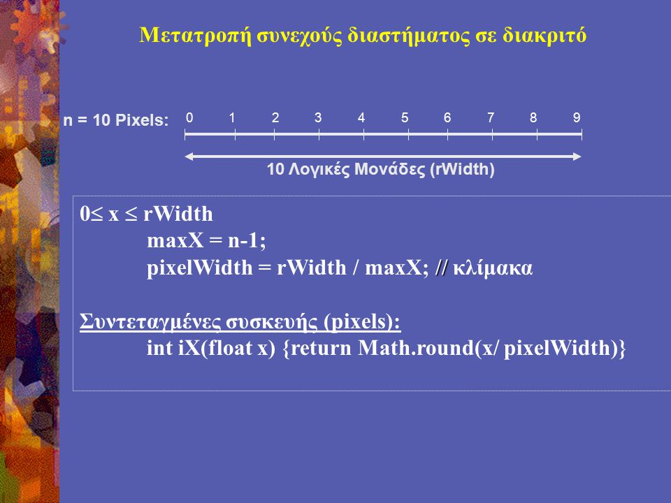 Μετατροπή συνεχούς διαστήματος σε διακριτό 0  x  rWidth maxX = n-1; // pixelWidth = rWidth / maxX; // κλίμακα Συντεταγμένες συσκευής (pixels): int iX(float x) {return Math.round(x/ pixelWidth)} 0123456789 10 Λογικές Μονάδες (rWidth) n = 10 Pixels: