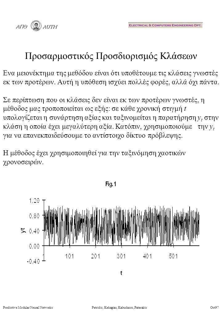 Προσαρμοστικός Προσδιορισμός Κλάσεων Predictive Modular Neural Networks Petridis, Kehagias, Kaburlasos, Paterakis Oct97 Ενα μειονέκτημα της μεθόδου είναι ότι υποθέτουμε τις κλάσεις γνωστές εκ των προτέρων.
