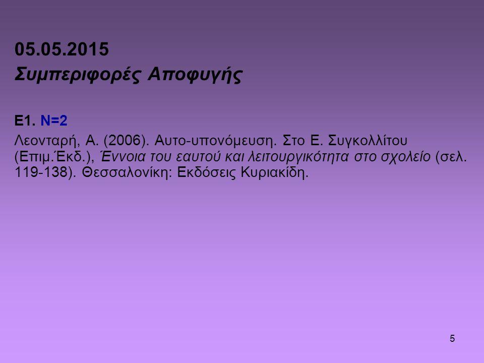 5 05.05.2015 Συμπεριφορές Αποφυγής Ε1. Ν=2 Λεονταρή, Α. (2006). Αυτο-υπονόμευση. Στο Ε. Συγκολλίτου (Επιμ.Έκδ.), Έννοια του εαυτού και λειτουργικότητα