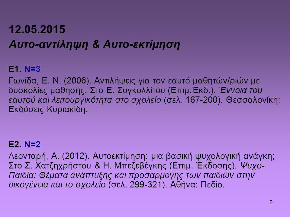 6 12.05.2015 Αυτο-αντίληψη & Αυτο-εκτίμηση Ε1. Ν=3 Γωνίδα, Ε. Ν. (2006). Αντιλήψεις για τον εαυτό μαθητών/ριών με δυσκολίες μάθησης. Στο Ε. Συγκολλίτο