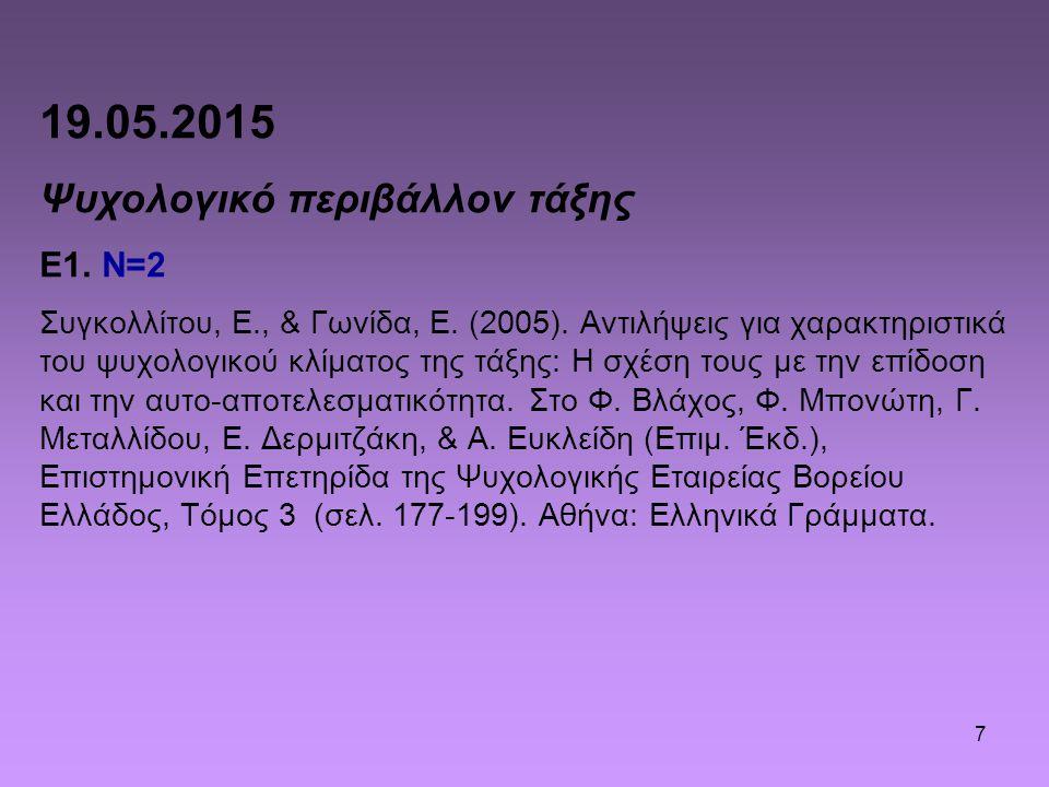 7 19.05.2015 Ψυχολογικό περιβάλλον τάξης Ε1. N=2 Συγκολλίτου, Ε., & Γωνίδα, Ε. (2005). Αντιλήψεις για χαρακτηριστικά του ψυχολογικού κλίματος της τάξη